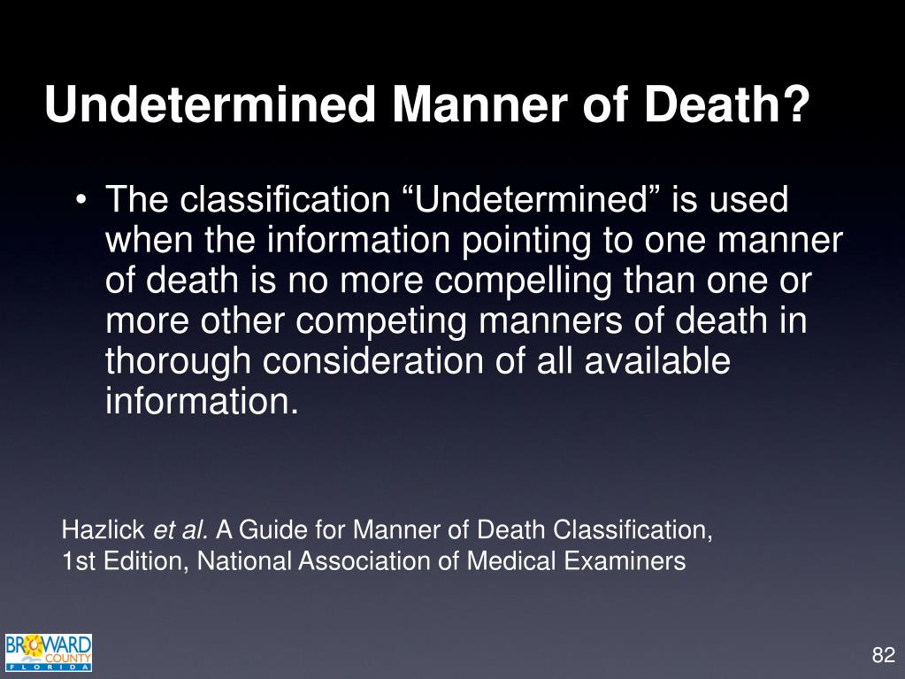 Undetermined Manner of Death?