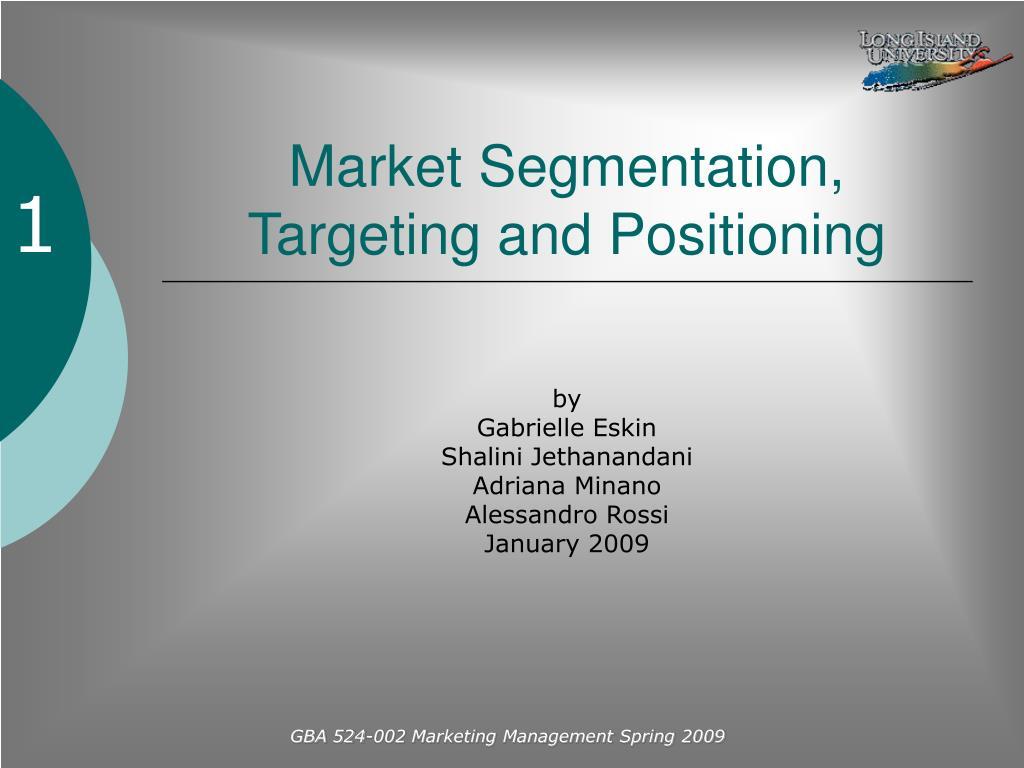 market segmentation targeting and positioning l.