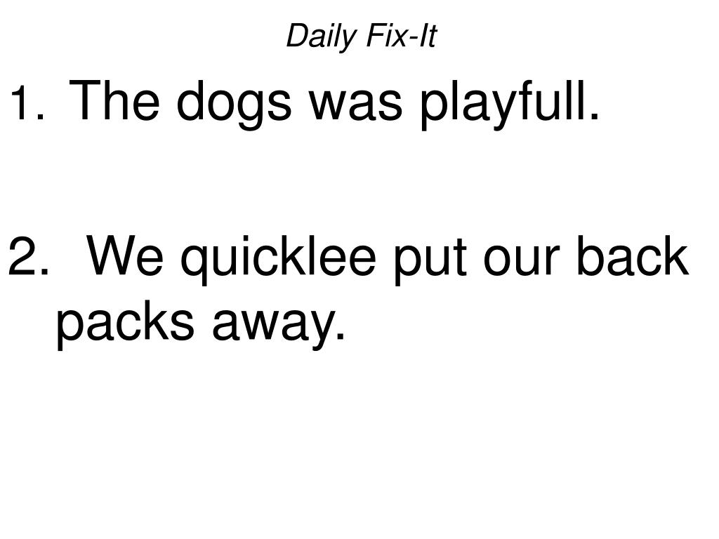 daily fix it the dogs was playfull we quicklee put our back packs away l.