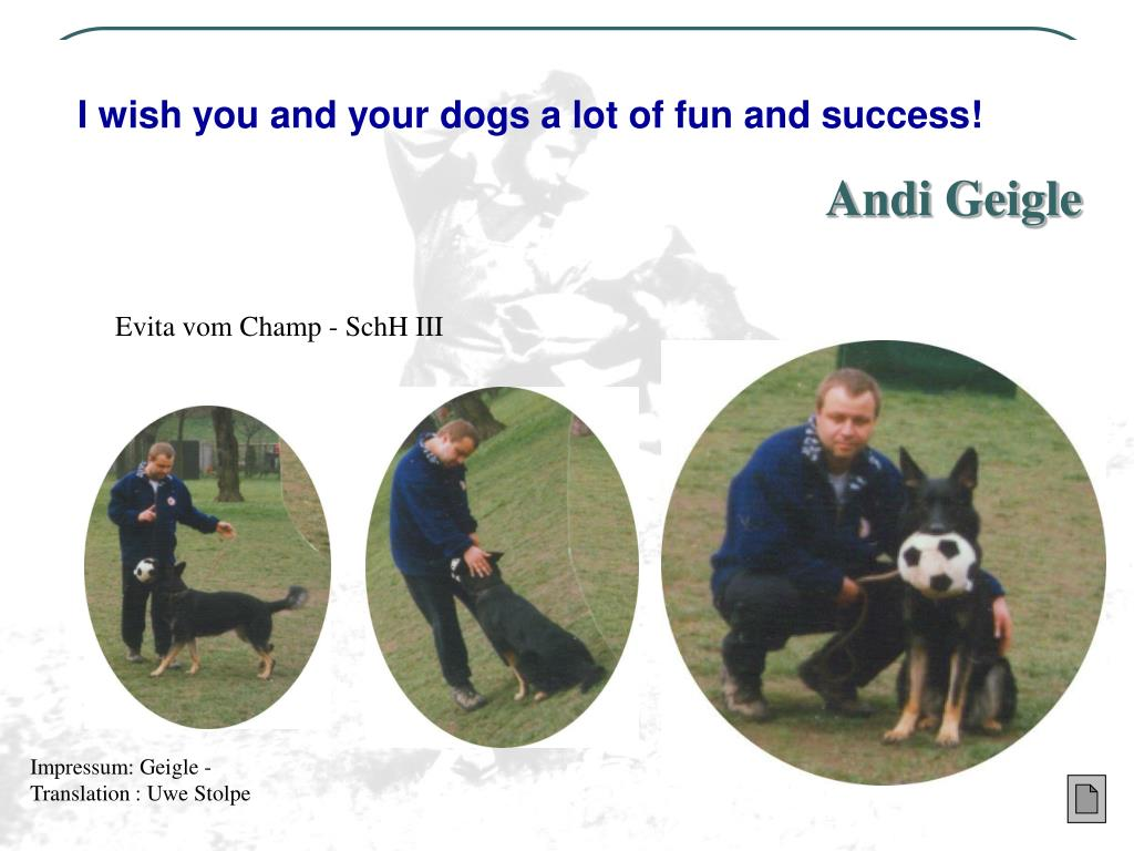 I wish you and your dogs a lot of fun and success!