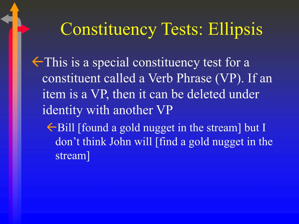 Constituency Tests: Ellipsis