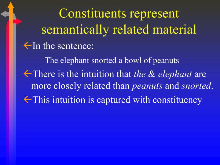 Constituents represent semantically related material