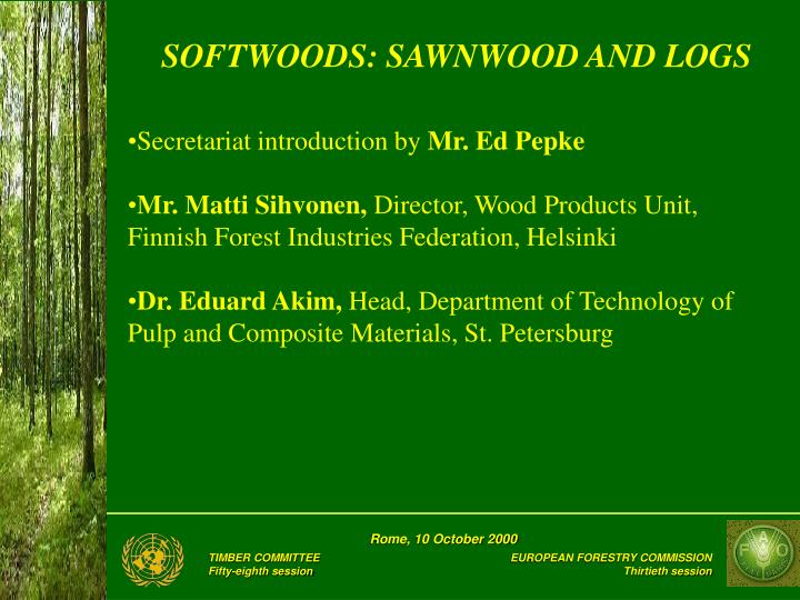 softwoods sawnwood and logs n.
