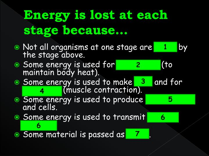 Energy is lost at each stage because…