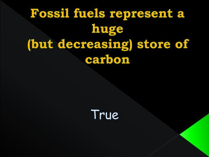 Fossil fuels represent a huge