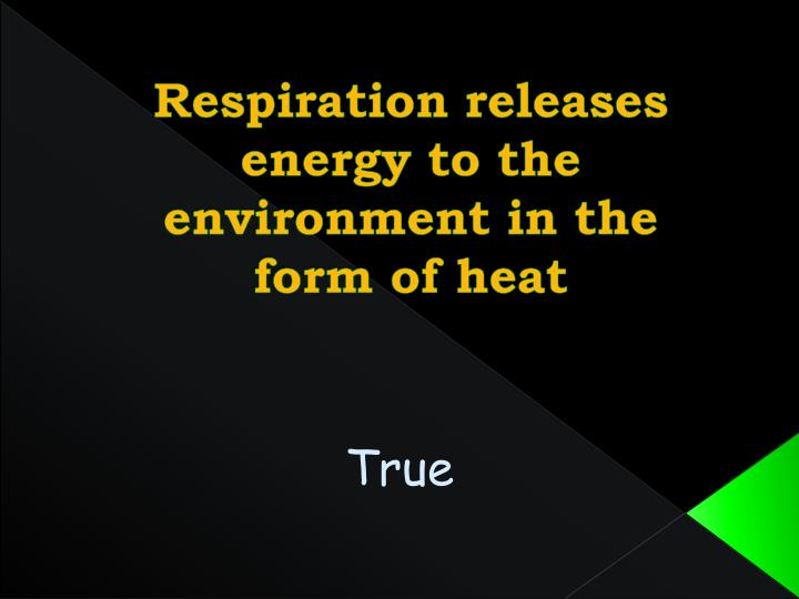 Respiration releases energy to the environment in the form of heat