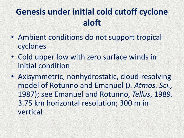 Genesis under initial cold cutoff cyclone aloft