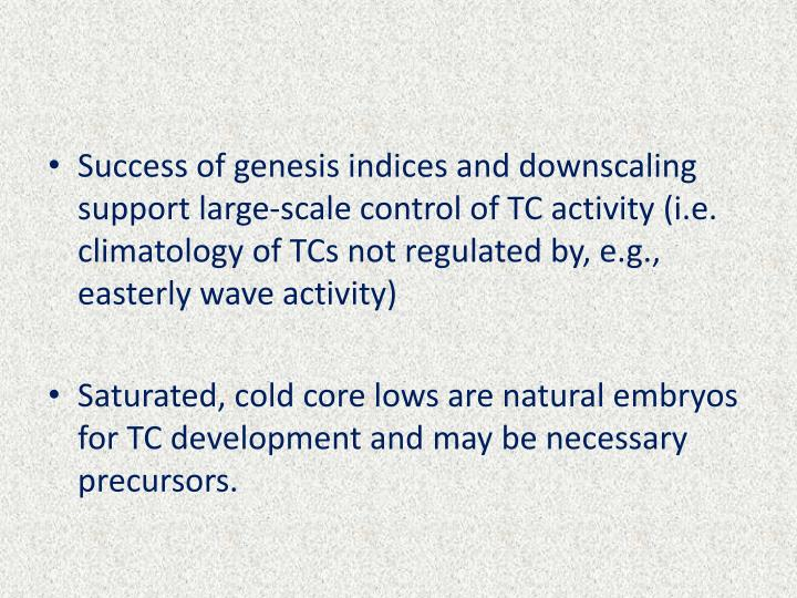 Success of genesis indices and downscaling support large-scale control of TC activity (i.e. climatology of TCs not regulated by, e.g., easterly wave activity)