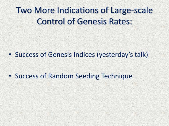 Two More Indications of Large-scale Control of Genesis Rates: