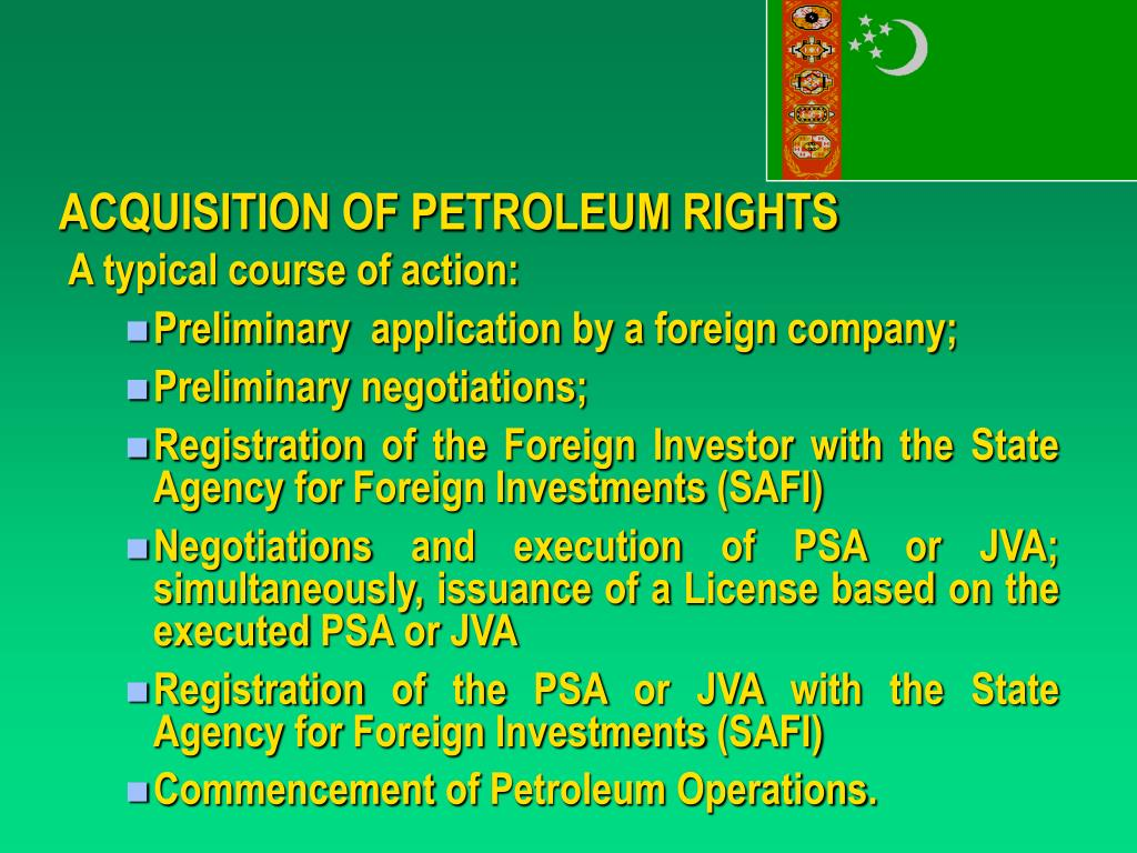 ACQUISITION OF PETROLEUM RIGHTS