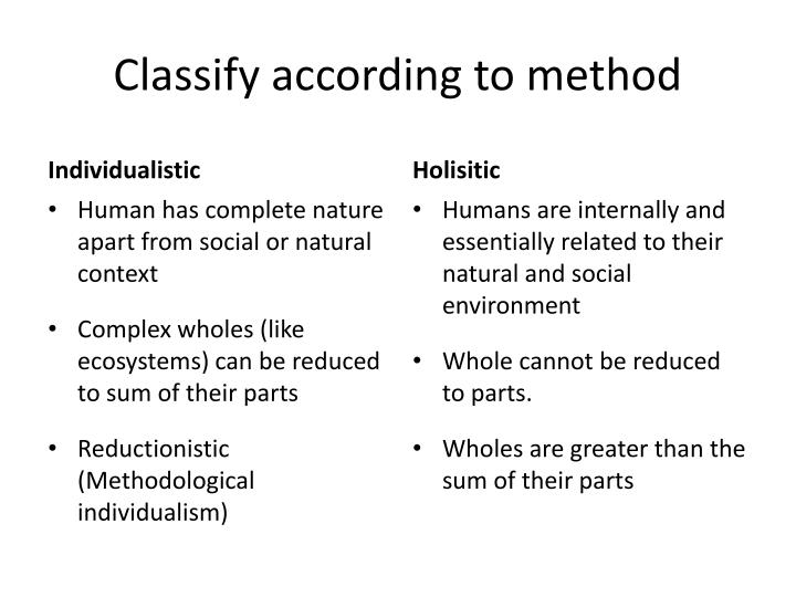 Classify according to method