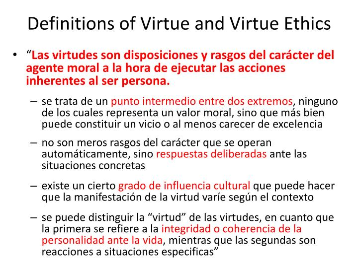 Definitions of Virtue and Virtue Ethics