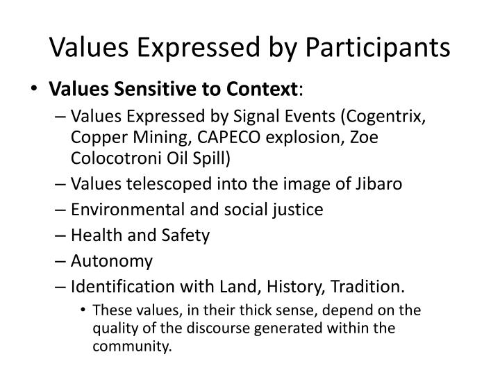 Values Expressed by Participants