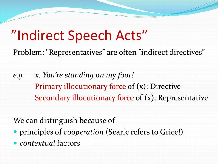"""""""Indirect Speech Acts"""""""