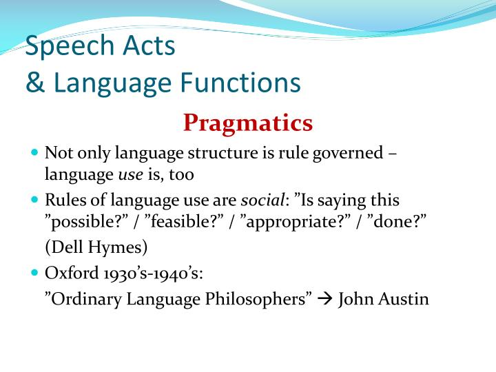 Speech acts language functions
