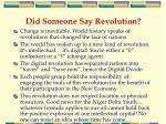 did someone say revolution