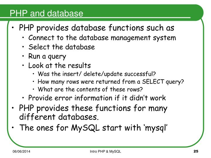 PHP and database