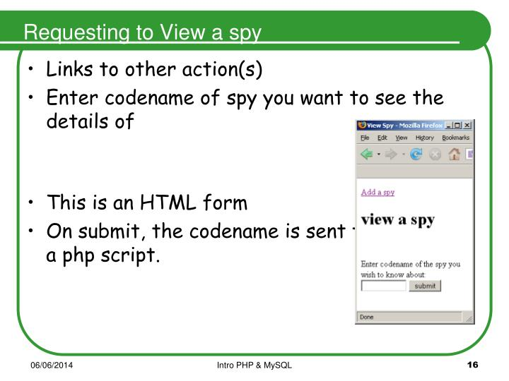 Requesting to View a spy