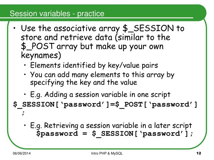 Session variables - practice