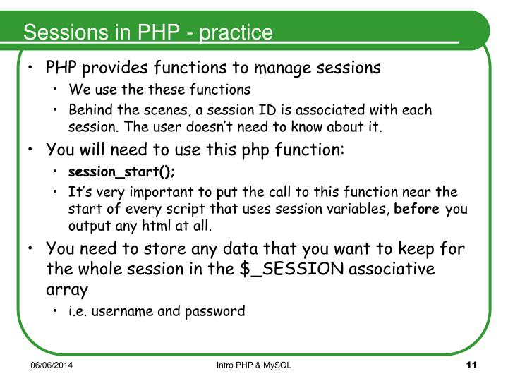 Sessions in PHP - practice