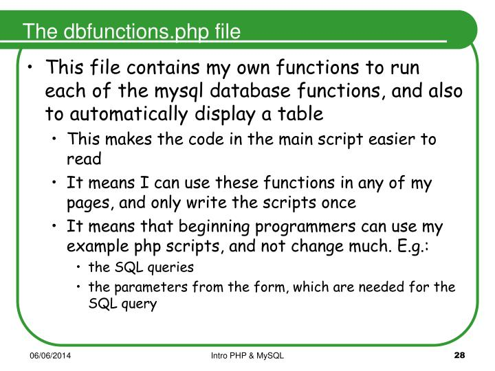 The dbfunctions.php file