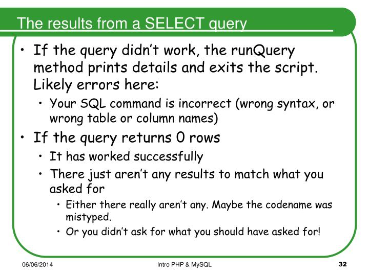 The results from a SELECT query