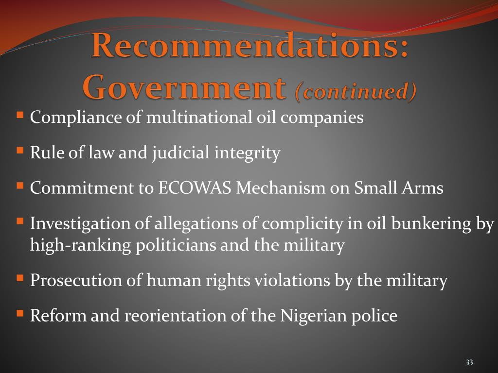Recommendations: Government