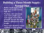building a three month supply normal diet