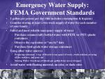 emergency water supply fema government standards