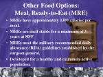 other food options meal ready to eat mre