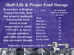 shelf life proper food storage