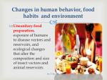 changes in human behavior food habits and environment