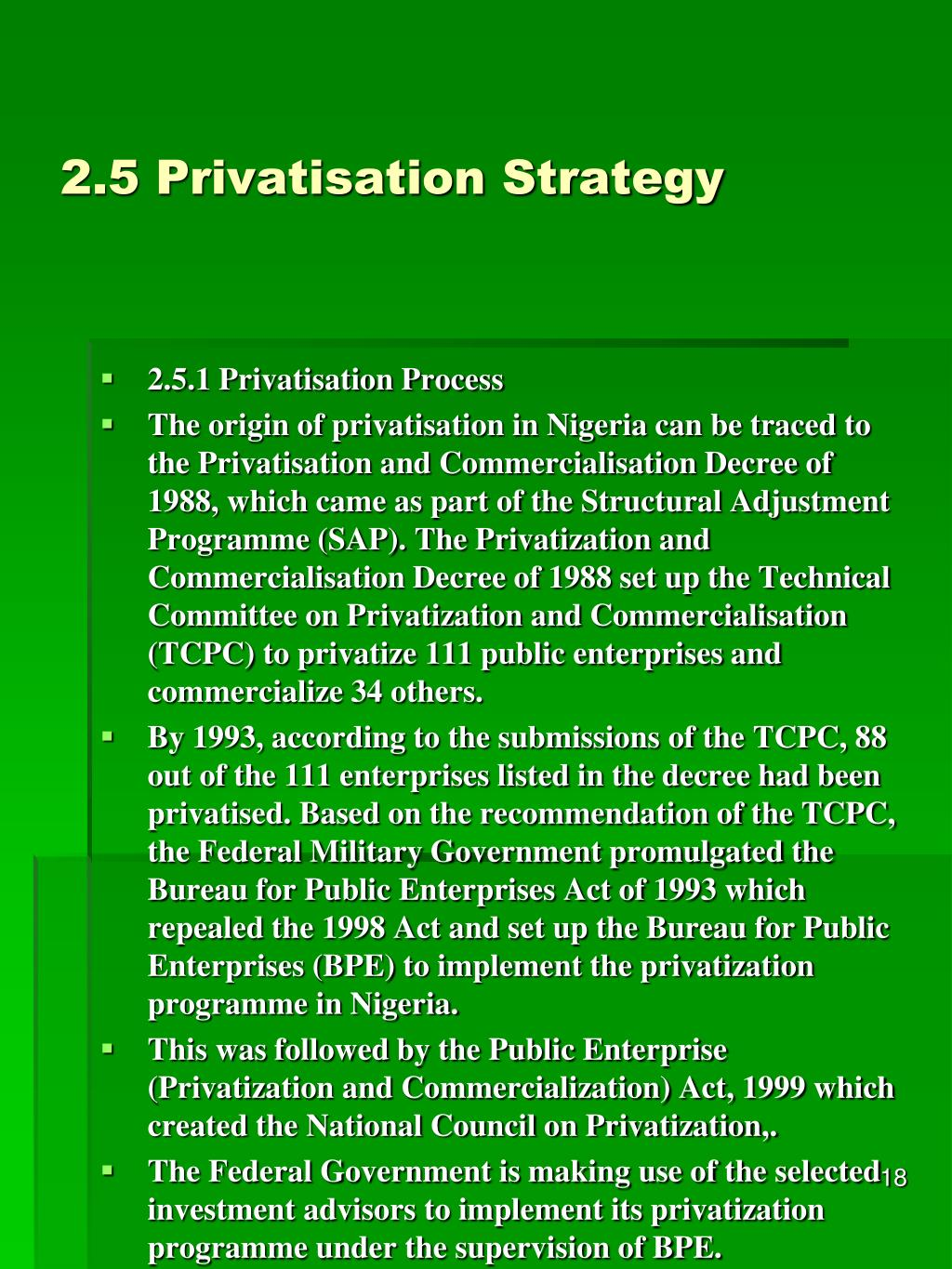 2.5 Privatisation Strategy