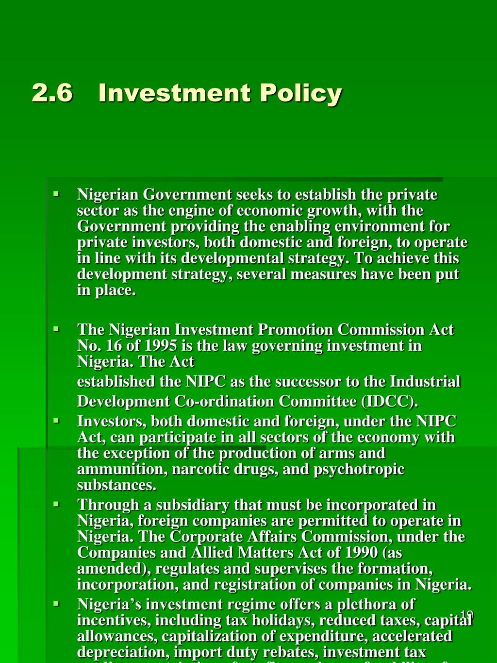 2.6Investment Policy