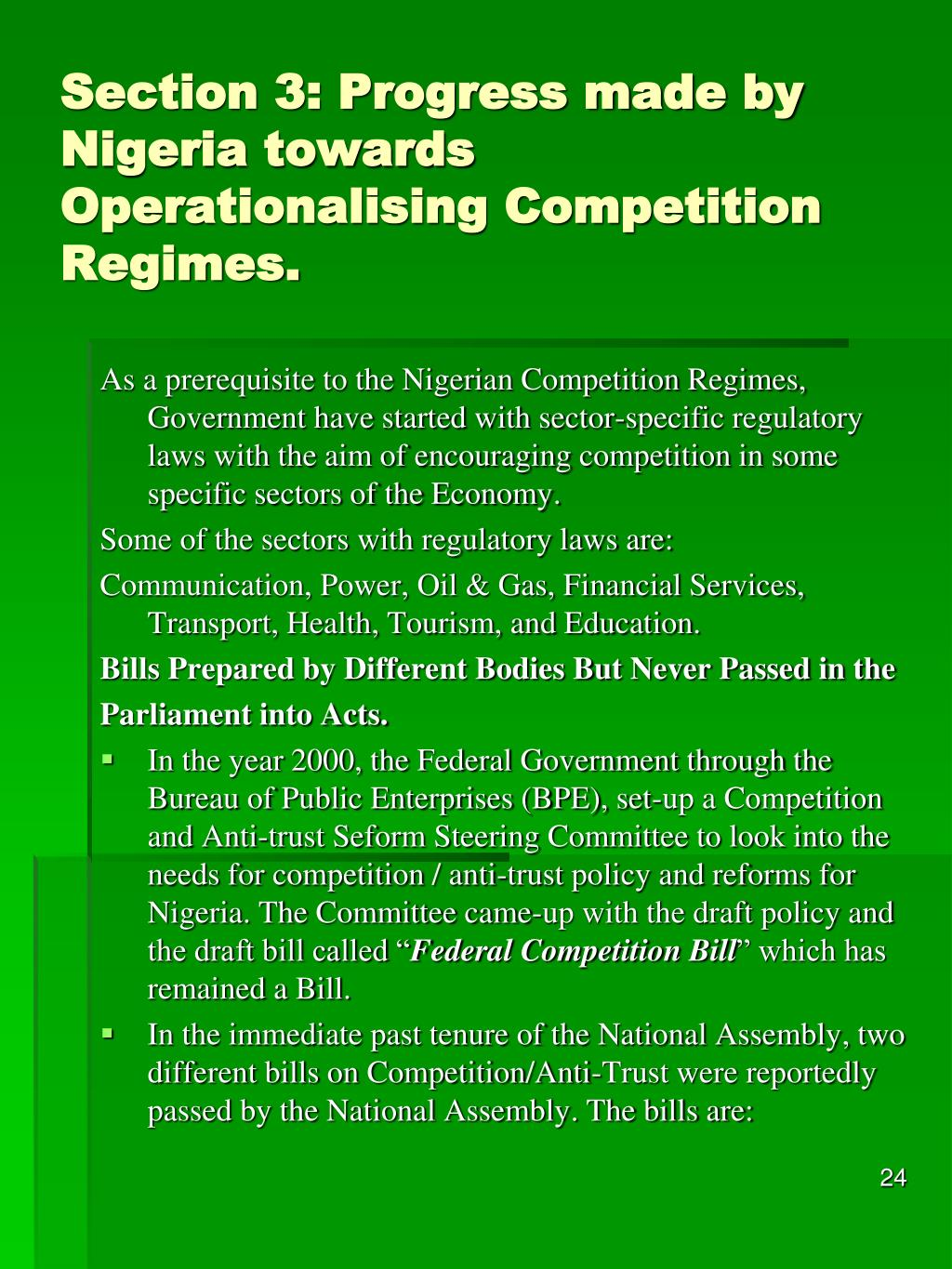 Section 3: Progress made by Nigeria towards Operationalising Competition Regimes.