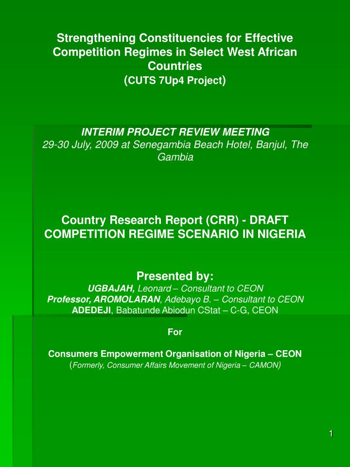 Strengthening Constituencies for Effective Competition Regimes in Select West African Countries