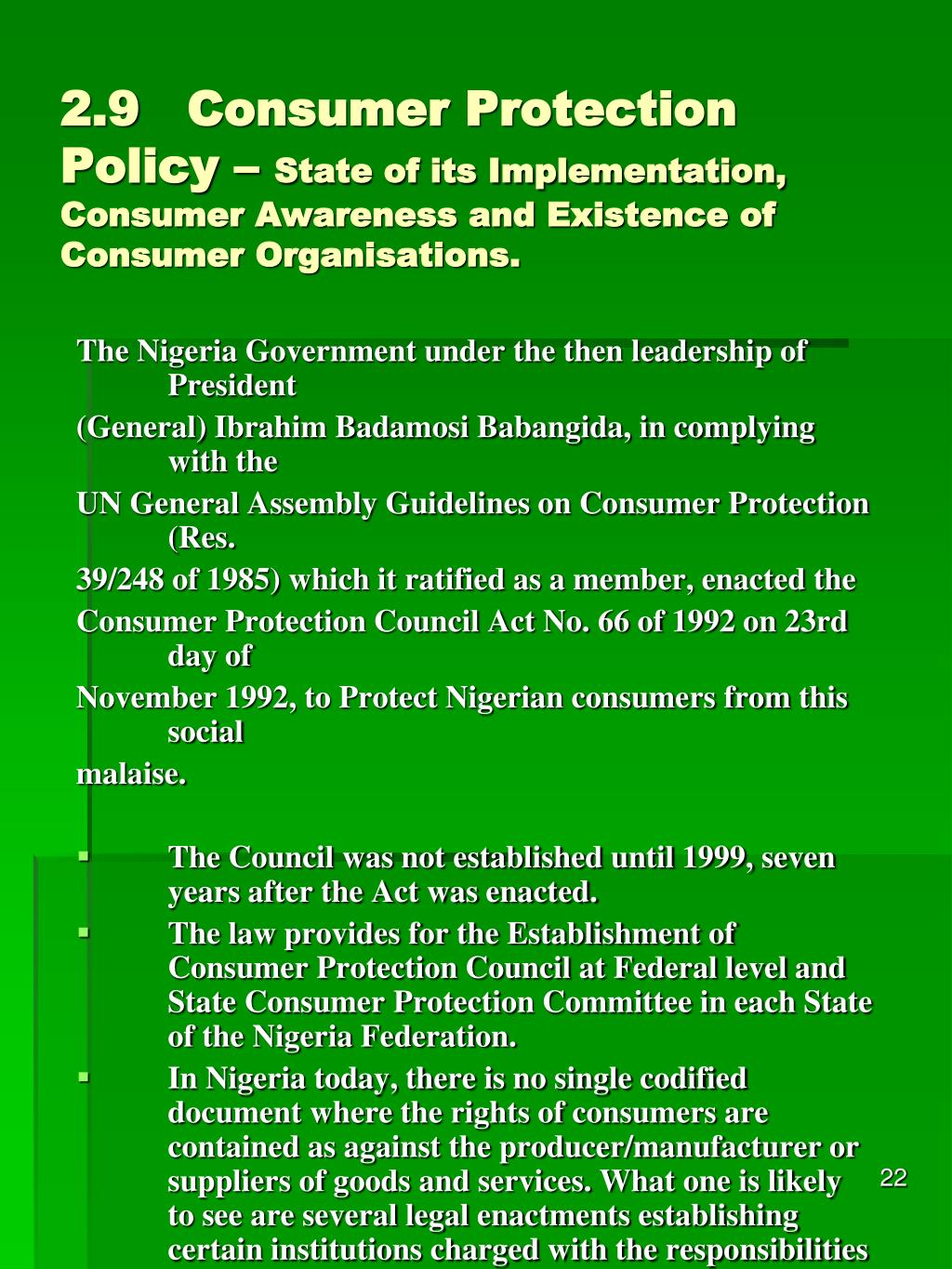 2.9Consumer Protection Policy –