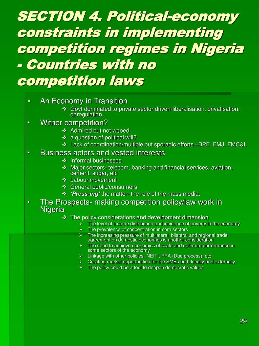SECTION 4. Political-economy constraints in implementing competition regimes in Nigeria - Countries with no competition laws
