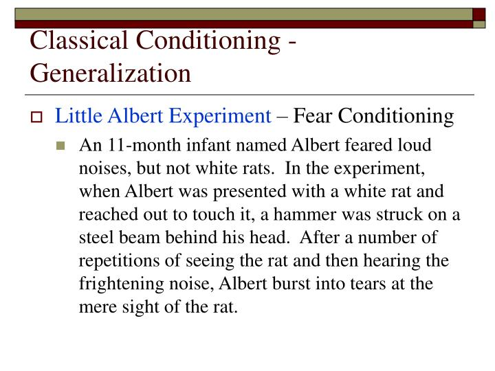 Classical Conditioning - Generalization