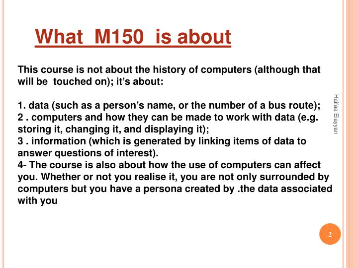 What  M150  is about