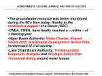 achievements lessons learned factors of success