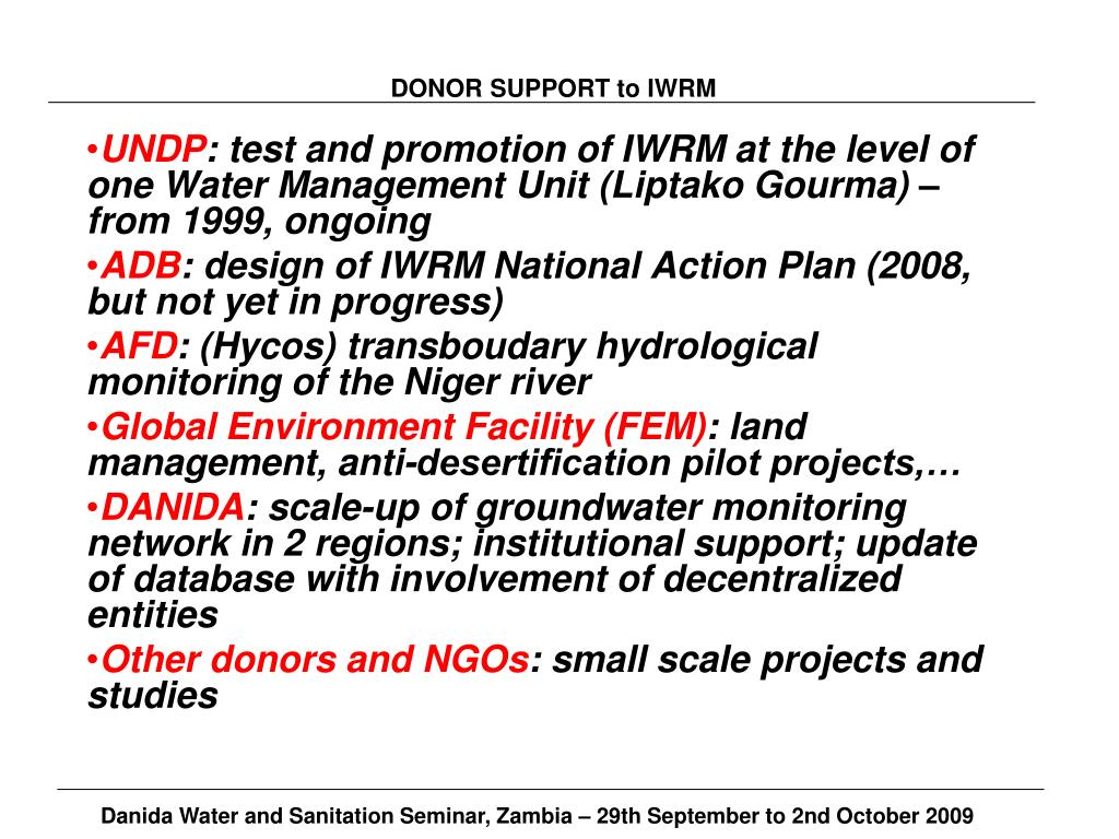 DONOR SUPPORT to IWRM