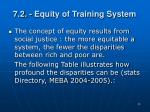 7 2 equity of training system