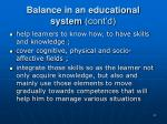 balance in an educational system cont d