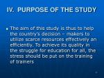 iv purpose of the study