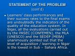 statement of the problem cont d