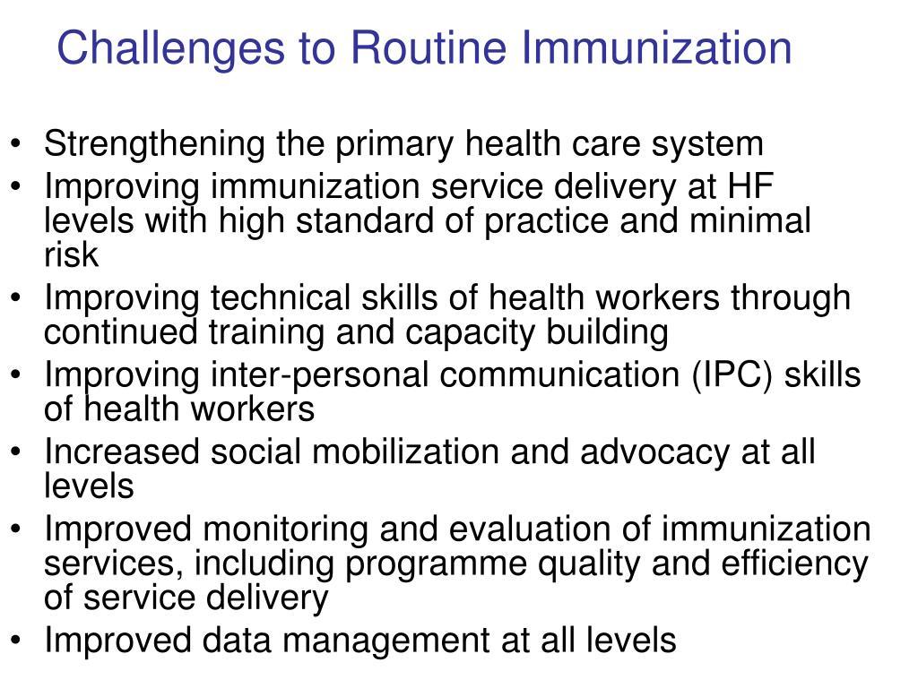 Challenges to Routine Immunization