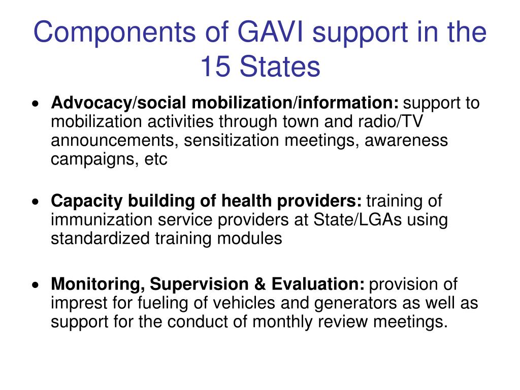 Components of GAVI support in the 15 States