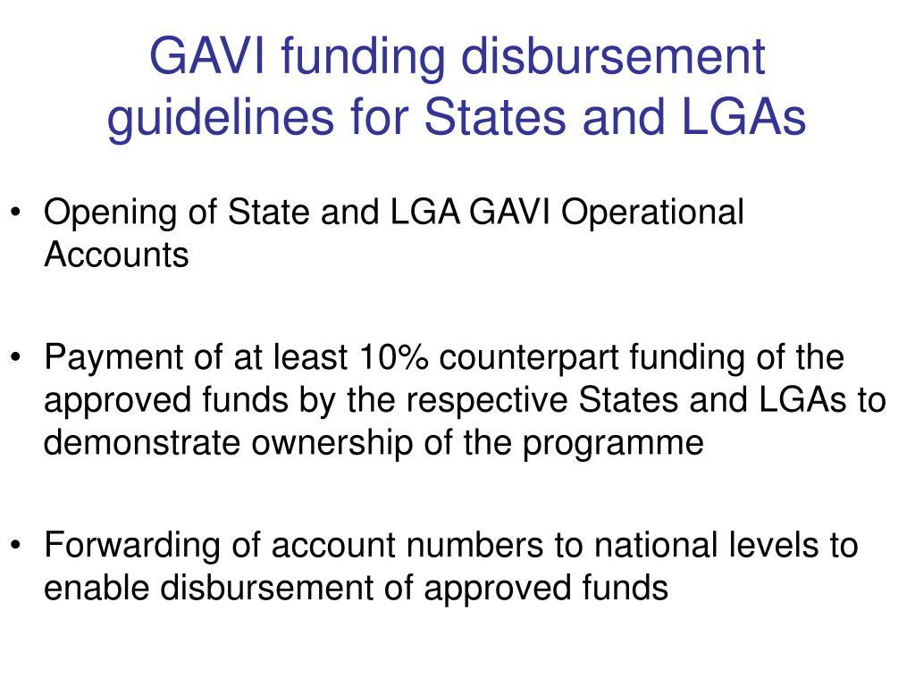 GAVI funding disbursement guidelines for States and LGAs