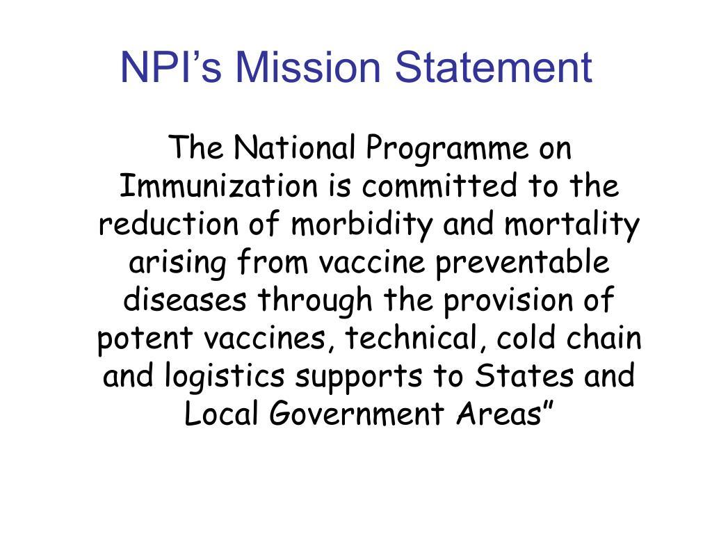 NPI's Mission Statement